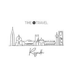 single continuous line drawing riyadh skyline vector image