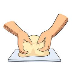 Sketch hands kneading dough vector
