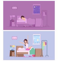 Sleeping girl wake up joyful woman morning vector