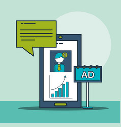 smartphone email notification advertising digital vector image