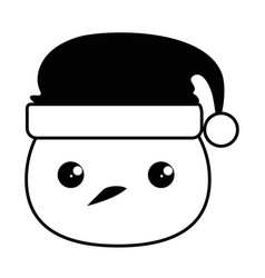 snowman head with christmas hat kawaii character vector image