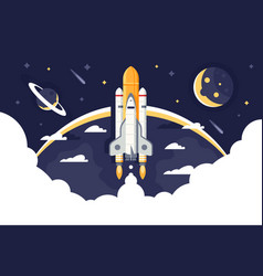 space shuttle takes off rocket from earth into vector image