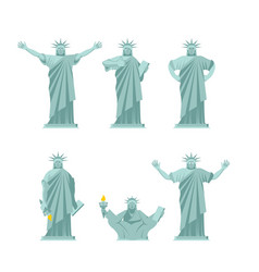 Statue of liberty set poses attractions america vector
