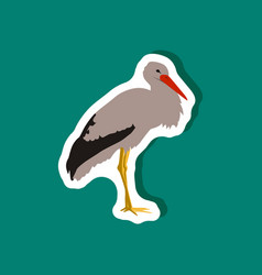 stork paper sticker on stylish background vector image