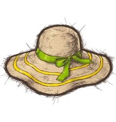 Straw beach hat vector