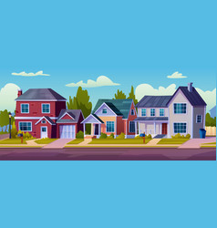 suburban street home rural country buildings tree vector image