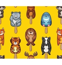 Summer seamless popsicle pattern with cartoon vector image