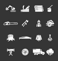 Timber industry icons set grey vector