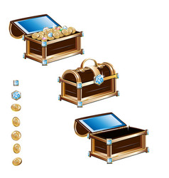 treasure chest with gold coins and precious stones vector image