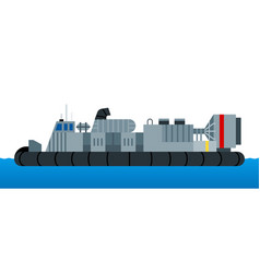 War ship hovercraft isolated on white vector