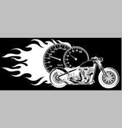 White silhouette motorcycle woth flames sport vector