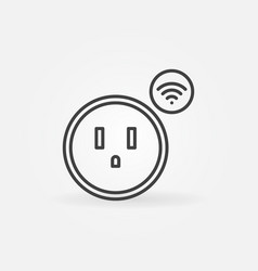 Wi-fi us smart socket outline icon vector