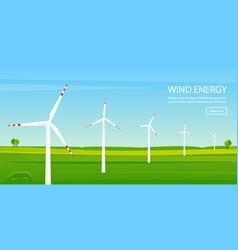 windmill farm on green field vector image
