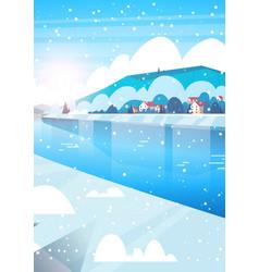 winter nature landscape houses on frozen river vector image