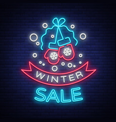 Winter sale of a poster in a neon style neon sign vector
