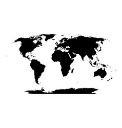 World map in robinson projection solid black land vector