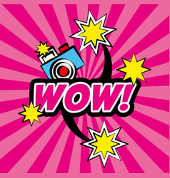 Wow pop art comic camera stars vector