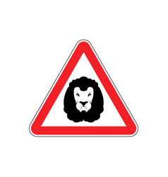 attention lion leo on red triangle road sign vector image vector image