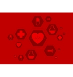 Bright red health background with medical vector image