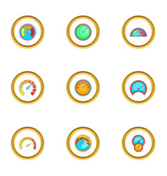 types of speedometers icons set cartoon style vector image vector image
