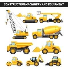 Construction Equipment Machinery Flat Icons Set vector image