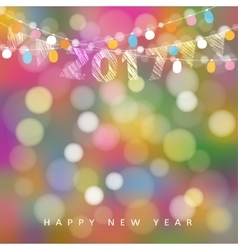 Happy new year greeting card with string of vector image vector image