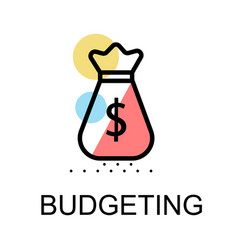 money bag icon for budgeting on white background vector image vector image