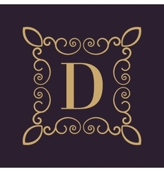 Monogram letter D Calligraphic ornament Gold vector image