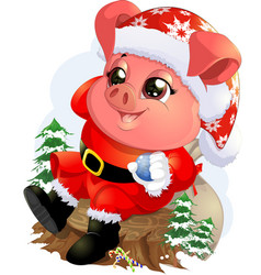 pig in santa costume vector image