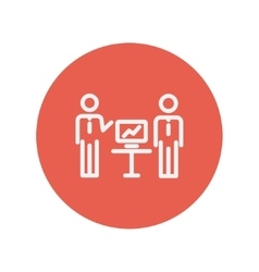 Two men and their business report thin line icon vector
