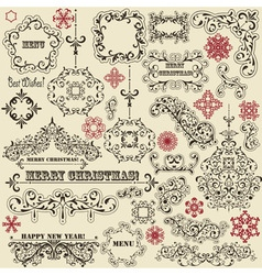 vintage holiday floral design elements vector image