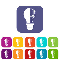 circuit board inside light bulb icons set flat vector image vector image