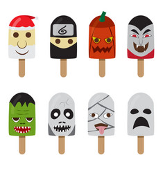 set of ice cream with fantasy character face vector image