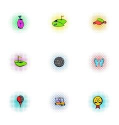 Sport golf icons set pop-art style vector image vector image