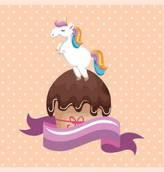sweet and delicious cupcake with unicorn vector image