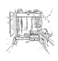 walk-in closet garderobe drawing interior vector image