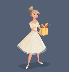 young woman in evening dress holding a gift in vector image