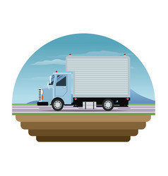 blue truck cargo delivery transport stamp vector image