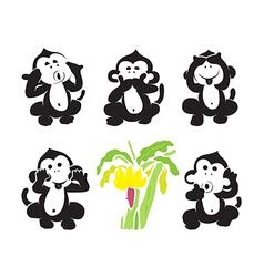 group of monkeys and bananas vector image