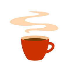 hot red coffee cup with steam vector image
