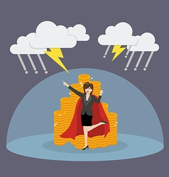 Super woman with barrier protecting her money from vector image vector image