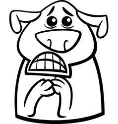 terrified dog cartoon coloring page vector image vector image