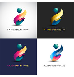 abstract 3d people logo template for your company vector image