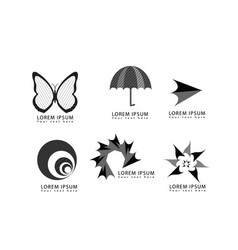Abstract butterfly umbrella arrow logo icons set vector