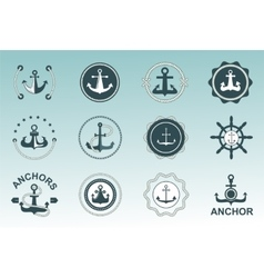 Anchor nautical symbols badges vector