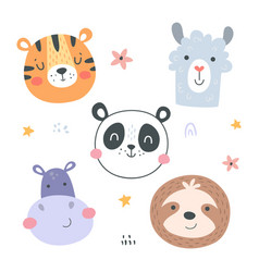 Animal heads-03 vector