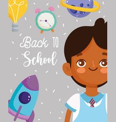 back to school pupil boy clock rocket planet vector image