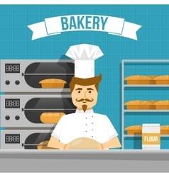 Baker Cooks Bread Design vector