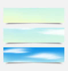 Banners headers blue clouds set vector