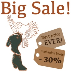 Big Sale with cute bird ankle boots vector image